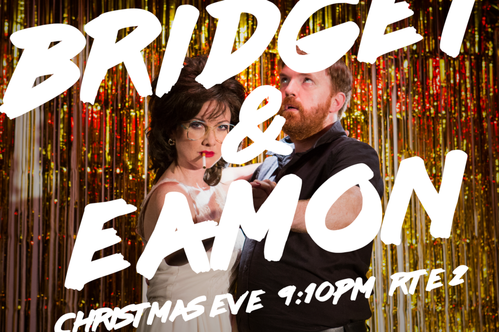 Bridget & Eamon dressed as characters from Dirty Dancing with text Christmas Eve 9:10pm RTE 2